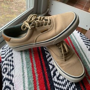 Vans sneakers tan canvas with brown leather accent
